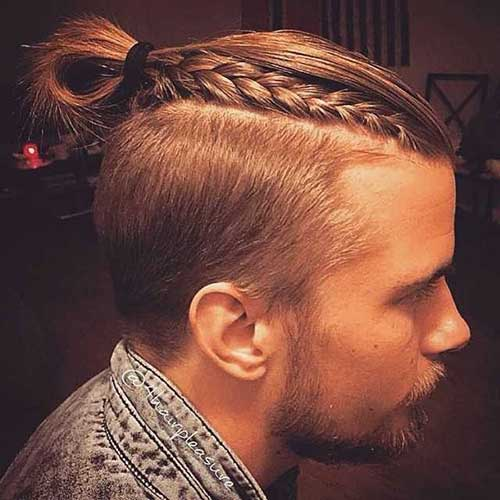 Men Long Undercut Hair with Braided Style