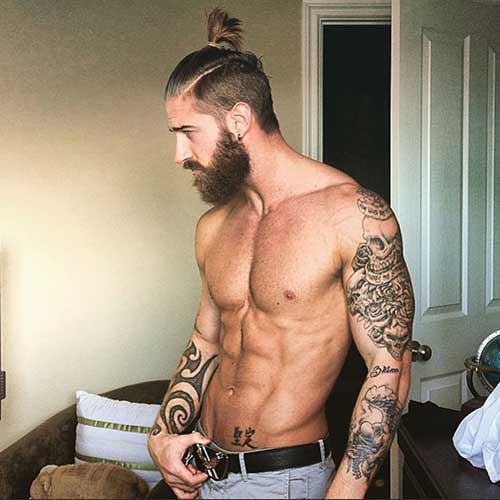 Side Shaved Bun Men Hairstyles Pics