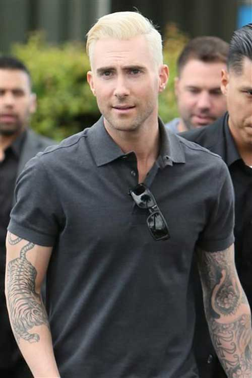 Adam Levine Platinum Blonde Hair