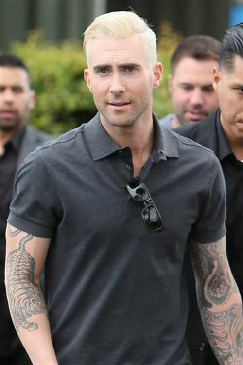 Adam Levine Platinum Blonde Hair