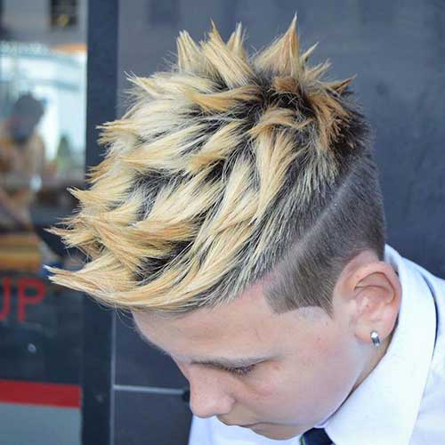 Blonde Choppy Spiky Quiff Hairstyles for Men