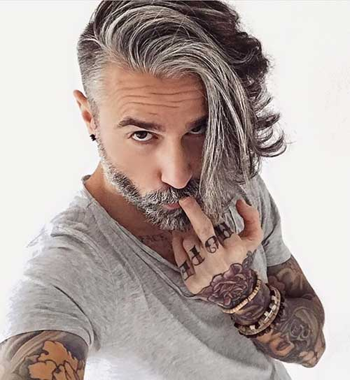 Cool Long Grey Hairstyles for Men