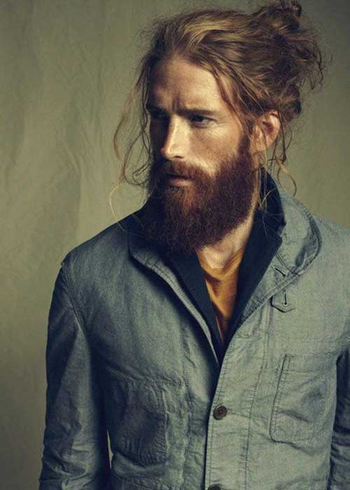 Cool Long Hairstyle Bun for Men