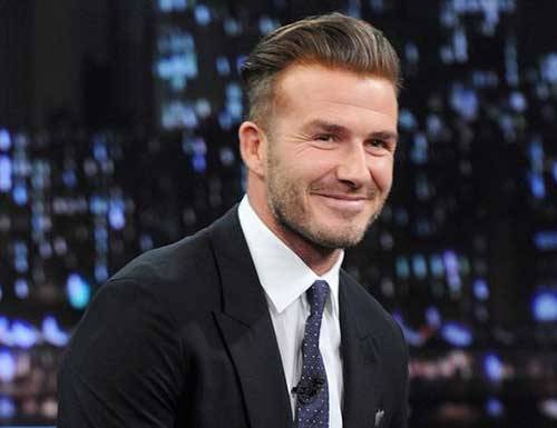 David Beckham Slicked Back Hair 2015