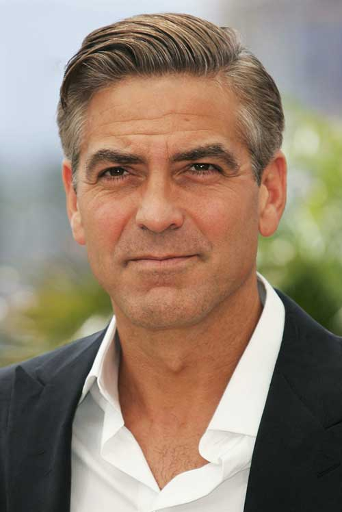 George Clooney Side Swept Hair Style