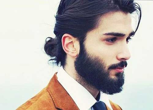 Dark Long Hairstyles Bun 2016 for Men
