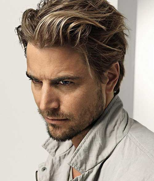 Medium Ashy Blonde Hairstyle For Men
