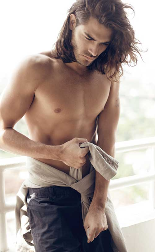 Men Thick Dark Brown Long Hair