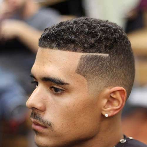 Mens Shaved Side Curly Hairstyles