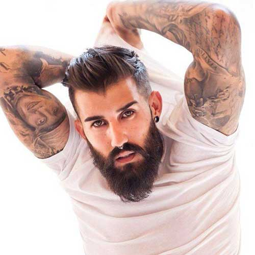 Mens Trendy Medium Slicked Hair