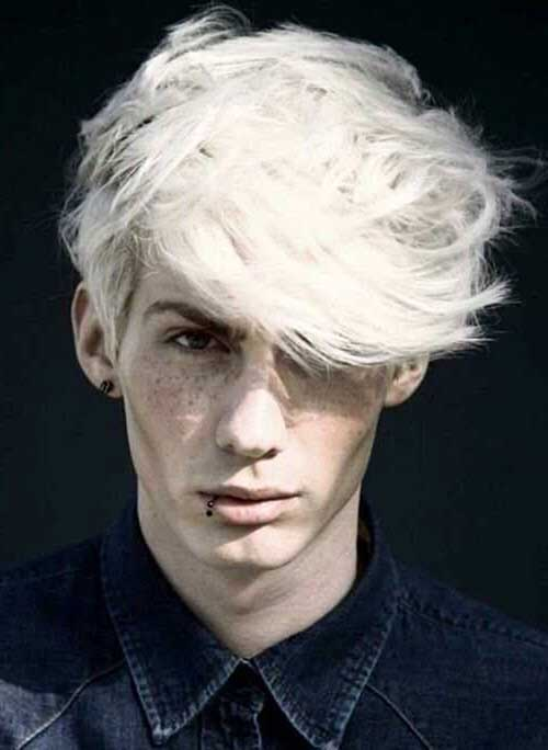 White Dyed Men Hair Style Pictures