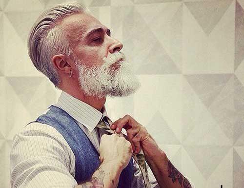 White Hair Style for Older Hipster Guys
