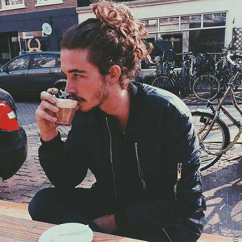 Guy with Long Curly Hair