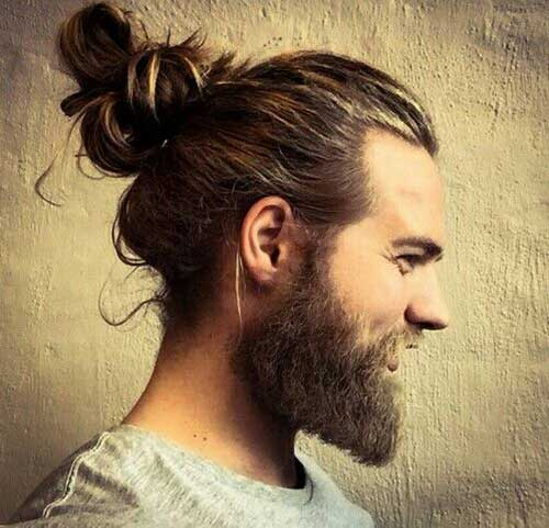 Delightful Long Hair Man Bun Style