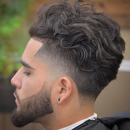 Hairtyles for Men with Wavy Hair, Fade Taper Curly Long