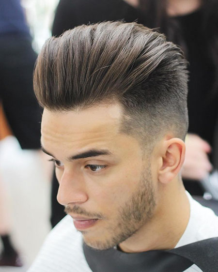 Mens Hairtyles Fade Pompadour