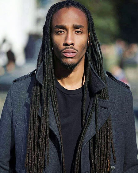 Men Long Black Dreads