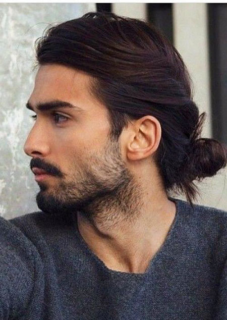 Low Bun Hair, Mens Long 2018 Beard
