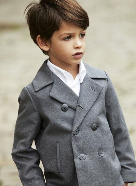 Medium Length Hairtyle, Boy Medium Peacoat Wool