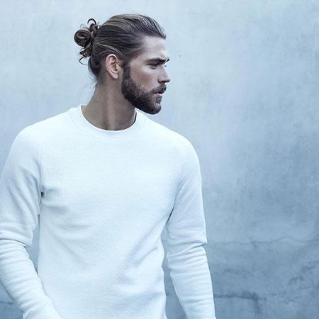 Man with Long Hair and Beard, Long Asos Amazing Bun