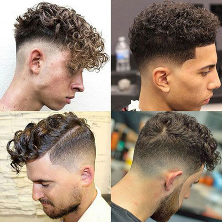 Mens Haircuts for Curly Hair, Fade Curly Hairtyles Haircuts