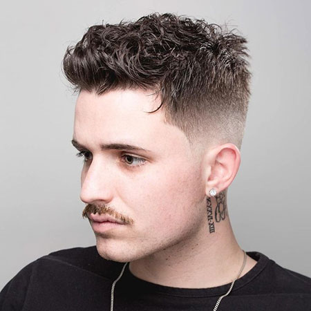 Short Curly Undercut Hair, Fade Haircut Mens Hairtyles