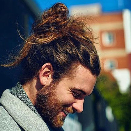Cool Messy Man Bun, Cool Bun Messy Beard