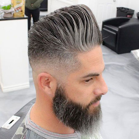 Fade Pompadour Older Beard