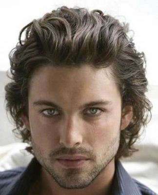Wavy Ash Brown Men Hair Color