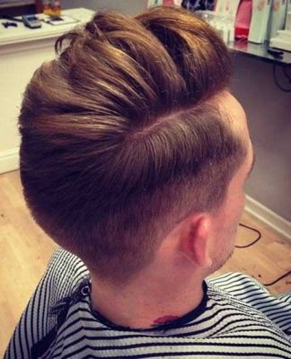 Men Pompadour Hairstyle Back