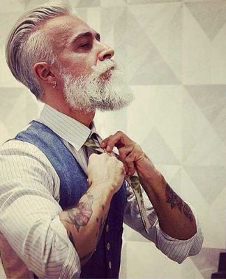 White Hair Style for Older Hipster Guys